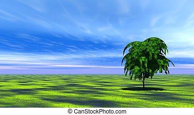 Baum im grünen Gras