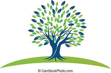 Baum mit blaugrünen Blättern Logo.