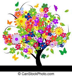 Baum mit Blumen absetzen
