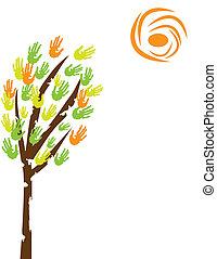 Baum mit Handabdrücken