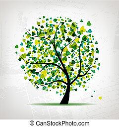 Baum mit Herzblatt auf Grunge-Hintergrund absetzen