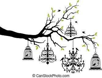 Baum mit Kronleuchter und Vogelkäfig.