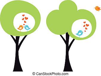 Baum mit Liebesvögeln, Vektor