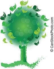 Baum mit Schmetterlingsblumen-Logo.