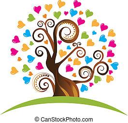 Baum mit Schmuck und Herz-Logo
