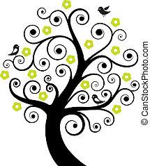 Baum mit Vögeln absetzen