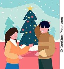 baum, paar, szene, weihnachten