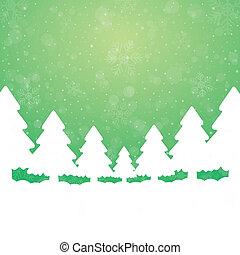 Baum-Schneesterne, grüner weißer Hintergrund