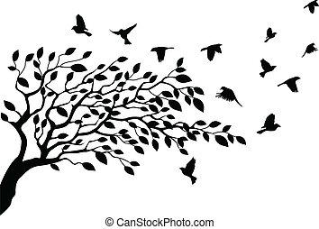 baum, silhouette, vogel