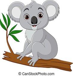 baum, sitzen, koala, karikatur, reizend, zweig