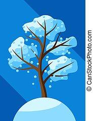 baum, snow., fallender , winter
