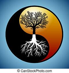 Baum und Wurzeln im Yin-Yng-Symbol