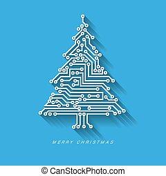 baum, vektor, stromkreis, digital, elektronisch, weihnachten