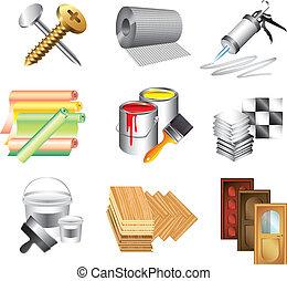 Baumaterial-Ikons Vektor-Set
