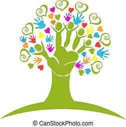 Baumhände und Herzen sind Logo