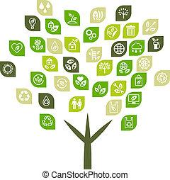 Baumhintergrund von Öko-Web-Ikonen.