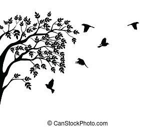 Baumsilhouette mit fliegendem Vogel