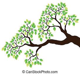 Baumzweig mit grünen Blättern