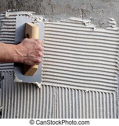Baustein mit weißem Zement