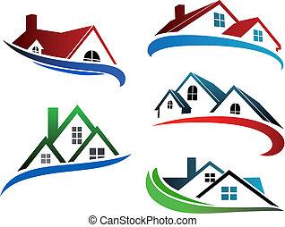 Bausymbole mit Hausdächern.