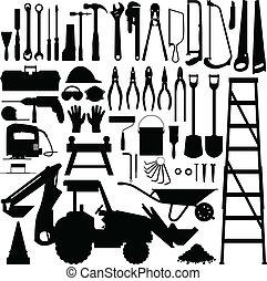 bauwerkzeug, vektor, silhouette