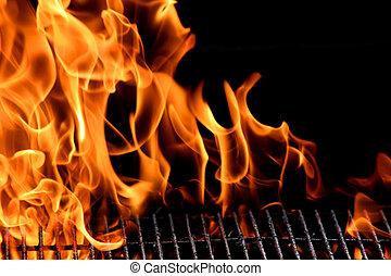 Bbq-Grill-Flamme, heißer Grill, draußen