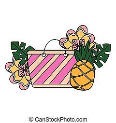 Beach Bag Ananas Blüte tropischen Sommer.