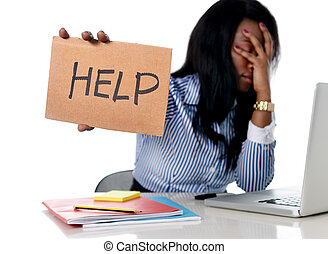 beanspruchen, frau, buero, arbeitende , amerikanische , schwarz, afrikanisch, frustriert, ethnicity