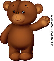 Bear Cartoon winkt.