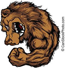 Bear-Maskottchen-Flexing-Arm-Cartoon