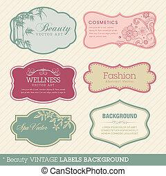Beauty Vintage Labels Hintergrund.