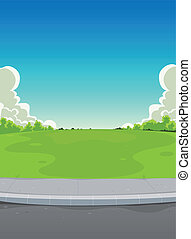 Bebauung und Grünpark Hintergrund.