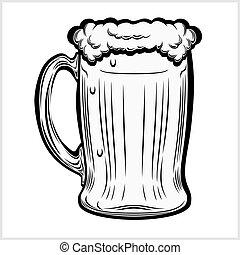 becher, hand, bier, gezeichnet, white., freigestellt, style.