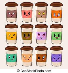 becher, lustiges, satz, collection., zeichen, bohnenkaffee, reizend, weißes, freigestellt, karikatur, vektor, abbildung, hintergrund., eps, glücklich