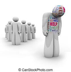 bedürfnisse, hilfe, unterstützung, -, traurige , person, alleine