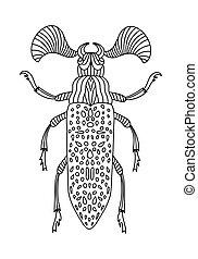 beetles., insekt, käfer, anti-stress, children., abbildung, vektor, fanous, buch, färbung, erwachsene