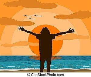 befreit, sonne, himmelsgewölbe, frau, einstellung, sanft, dahin, stimmung, stehende , orange, vektor, erstrecken, arme, strand., abend, blaues, abbildung, meer, glücklich, wave., fühlen