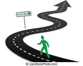beginnen, erfolg, kurven, reise, initiative, landstraße