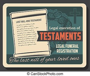 begräbnis, testament, hinrichtung, service