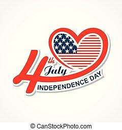 Begrüßen für die glückliche Unabhängigkeit Tag der vereinigten Staaten 4. Juli.
