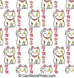 begrüßen, muster, seamless, glücklich, japanisches , hintergrund., hand-drawn, wort, katz, original, maneki-neko.