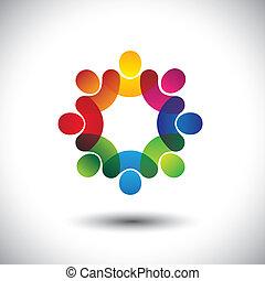 begriff, abstrakt, geschäftsführung, kinder, personal, stehende , heiligenbilder, arbeiter, circle., auch, bunte, grafik, versammlung, diskussionen, vertritt, bilden kinder, dieser, angestellten-gewerkschaft, usw, vektor, oder