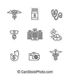 begriff, ausstellung, aufwendungen, kosten, gesundheit, healthcare, teuer, sorgfalt