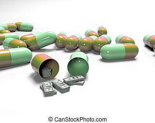 begriff, banknoten, bezahlt, tabletten, medizinprodukt, teuer