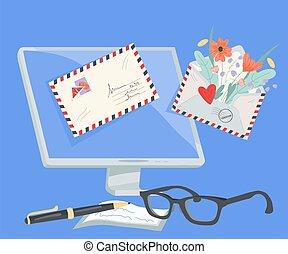 begriff, fliegendes, briefe, e-mail, heraus, edv, service, vektor, wohnung, illustration.