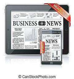 begriff, geschaeftswelt, tablette, &, druchbrechen , -, pc, smartphone, nachrichten