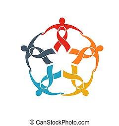 begriff, gruppe, starke , unterstuetzung, geschenkband, gemeinschaftsarbeit, gemeinschaft, fünf, gehen, leute, logo.