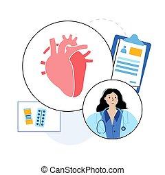 begriff, kardiologie, schablone