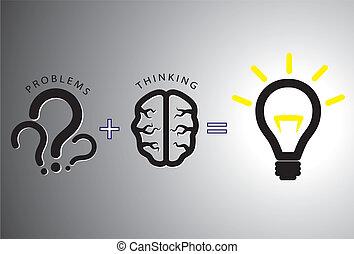 begriff, lösen, -, loesung, ihm, gehirn, gebrauchend, problem