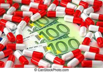 begriff, medikation, teuer